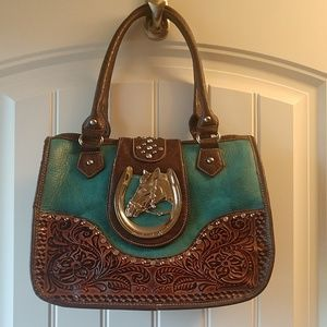 Turquoise/Brown Western purse